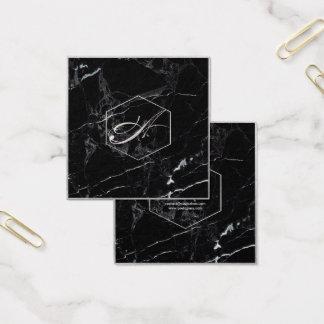 Mármore de PixDezines+Monogramas de prata do falso Cartão De Visitas Quadrado