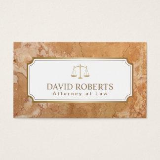 Mármore elegante da escala do ouro do advogado do cartão de visitas