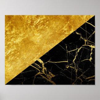 Mármore preto com o poster básico da folha de ouro