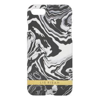 Mármore preto e branco com monograma da folha de capa iPhone 8/7