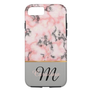 Mármore preto e cor-de-rosa, nome e monograma capa iPhone 7