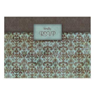 Marrom azul de turquesa do damasco do cartão de cartão de visita grande