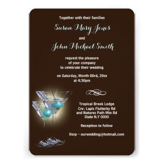 Marrom azul do jantar de ensaio do casamento convites