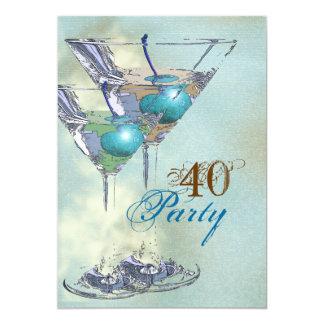 Marrom azul elegante do aniversário de 40 anos convite personalizados