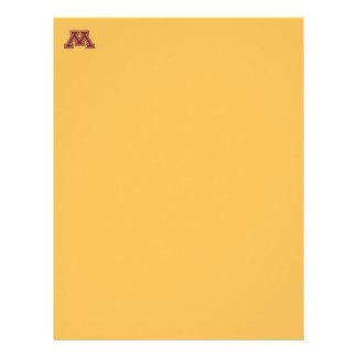 Marrom de Minnesota & curso M do ouro Papel De Carta Personalizados