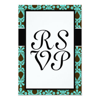 marrom e design azul do damasco do tiff convites personalizados