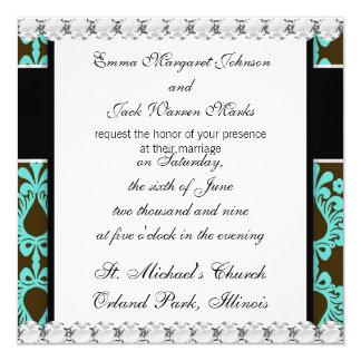marrom e design azul do damasco do tiff convites personalizado