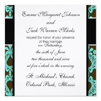 marrom e design azul do damasco do tiff convite personalizado