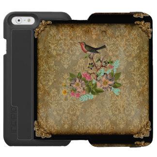 marrom floral do victorian do pássaro do damasco