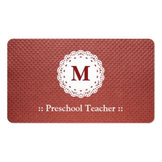 Marrom pré-escolar do monograma do laço do profess cartoes de visita