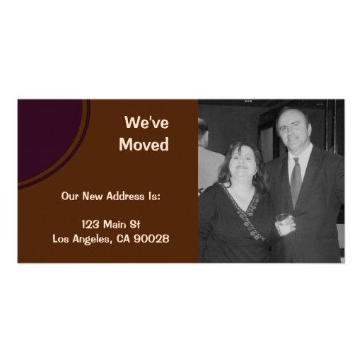 marrom roxo nós movemos o anúncio cartoes com foto personalizados