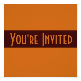 marrom simples convite quadrado 13.35 x 13.35cm