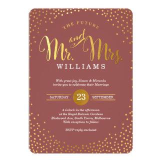 Marsala dos confetes do ouro do CASAMENTO À MODA Convite 12.7 X 17.78cm