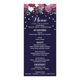 Marsala e Borgonha florais no menu do casamento do