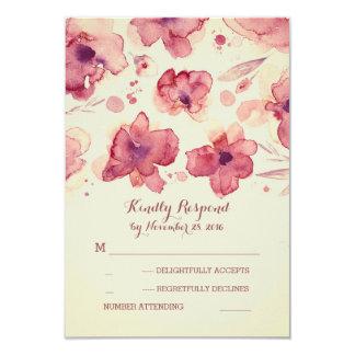Marsala e flores da aguarela do marfim que Wedding Convite 8.89 X 12.7cm