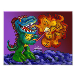 Marshmallows do cozinhar do dragão do dinossauro impressão de foto