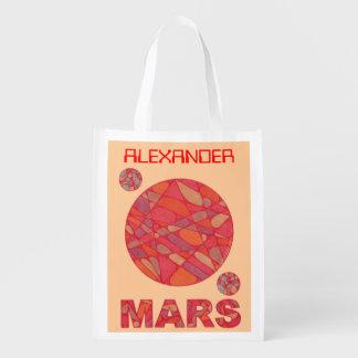 Marte planeta vermelho o saco reusável sacolas ecológicas