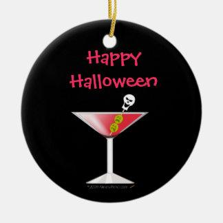 Martini sangrento engraçado com crânio o Dia das Ornamento De Cerâmica Redondo