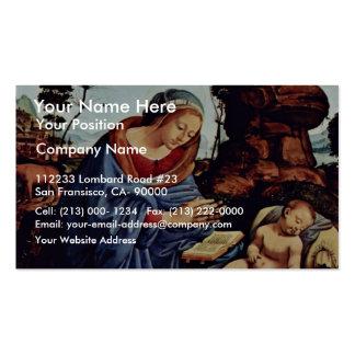 Mary adorador a criança Tondo por Piero di Cosimo  Cartão De Visita