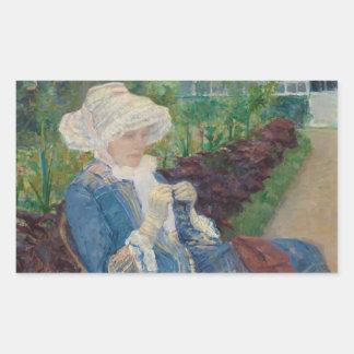 Mary Cassat- Lydia que Crocheting no jardim Adesivo Retangular