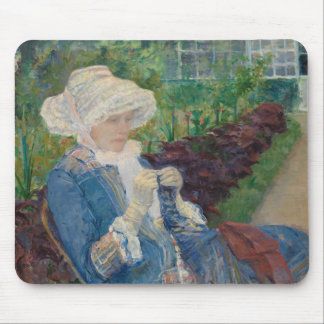 Mary Cassat- Lydia que Crocheting no jardim Mouse Pad