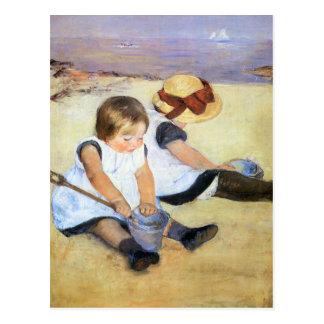 Mary Cassatt que joga no cartão da praia