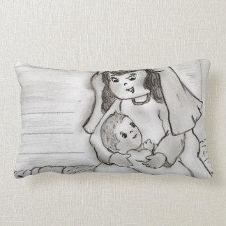 Mary e bebê pequenos Jesus - esboço Almofada Lombar