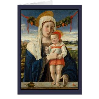 Mary e criança do cristo sob a festão cartão