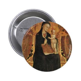 Mary e o Jesus infantil cercado por seis anjos Boton