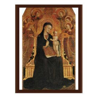 Mary e o Jesus infantil cercado por seis anjos Cartões Postais