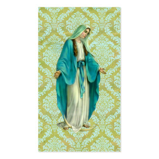 Mary em uma cor damasco verde e azul do vintage cartão de visita