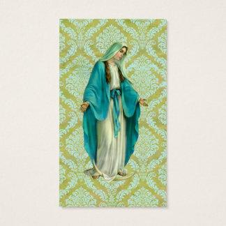 Mary em uma cor damasco verde e azul do vintage cartão de visitas