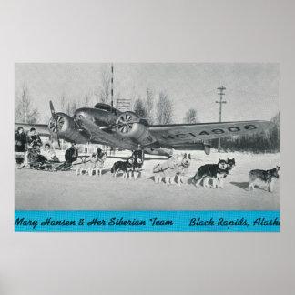 Mary Hansen Siberians com avião Posters