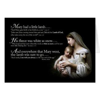 Mary teve um cartão de Natal pequeno do cordeiro