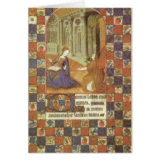 Mary visita seu primo Elizabeth, medieval Cartão Comemorativo