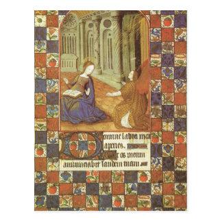 Mary visita seu primo Elizabeth, medieval Cartão Postal