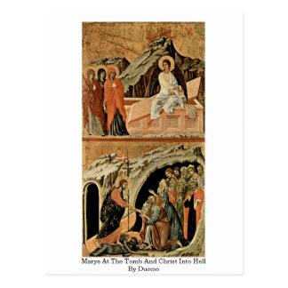 Marys no túmulo e no cristo no inferno por Duccio Cartão Postal