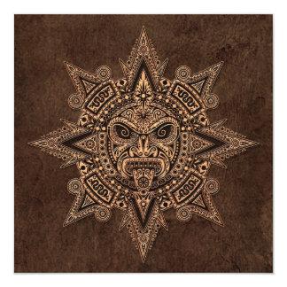 Máscara asteca de Sun com efeito de pedra Convites Personalizado