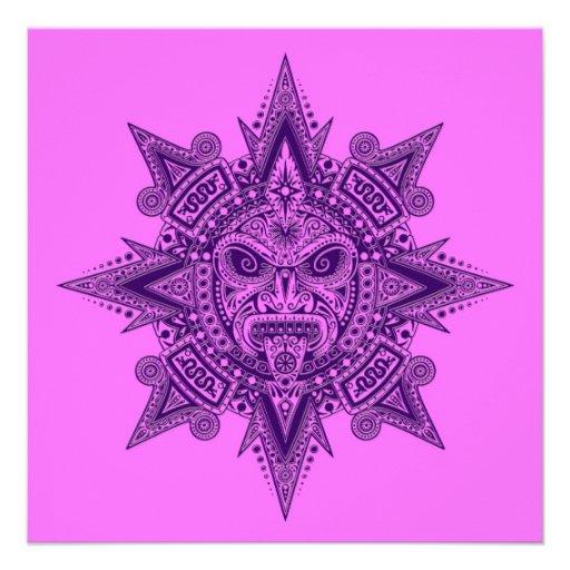 Máscara asteca de Sun roxa e cor-de-rosa Convites