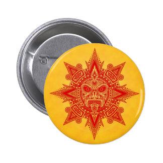 Máscara asteca de Sun - vermelho e amarelo Pins
