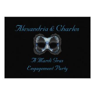 """Máscara azul/cinzenta de uma festa de noivado do  Convites Personalizados"