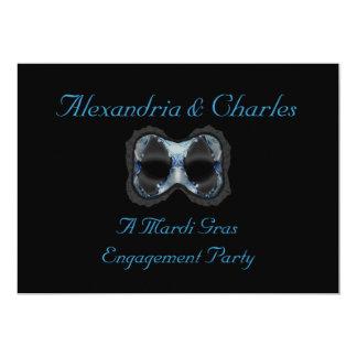 """""""Máscara azul/cinzenta de uma festa de noivado do Convite 12.7 X 17.78cm"""