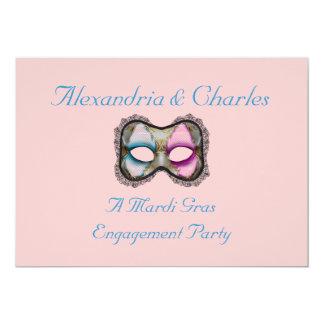 """""""Máscara azul/cor-de-rosa de uma festa de noivado Convite 12.7 X 17.78cm"""