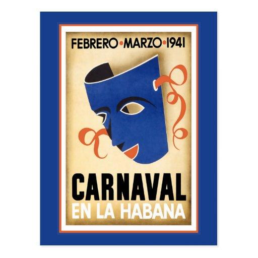 Máscara azul para Carnaval Cartões Postais