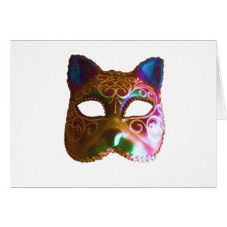 Máscara colorida do gato cartão comemorativo