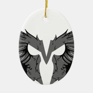 Máscara com asas ornamento de cerâmica oval