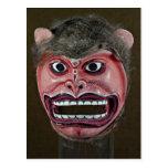 Máscara da dança no formulário do macaco cartao postal