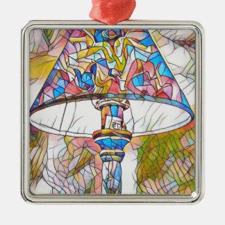 Máscara de lâmpada artística legal do vitral ornamento quadrado cor prata