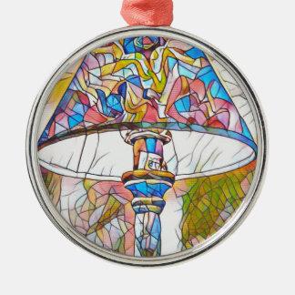 Máscara de lâmpada artística legal do vitral ornamento redondo cor prata