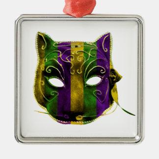 Máscara do carnaval da mulher-gato ornamento quadrado cor prata